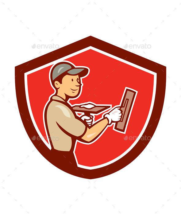 GraphicRiver Plasterer Masonry Worker Shield Cartoon 9001421