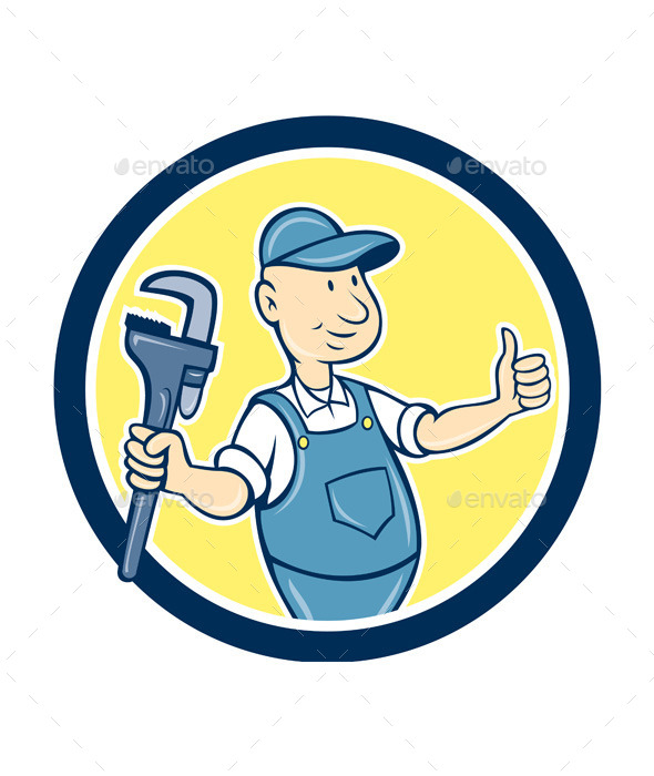 GraphicRiver Plumber Monkey Wrench Thumbs Up Cartoon 9001426