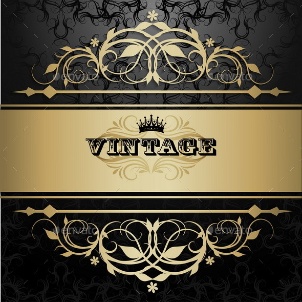 GraphicRiver Vintage Background with Golden Pattern 9001685
