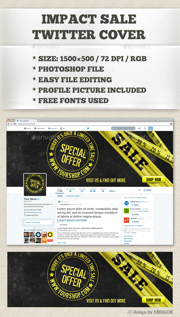 GraphicRiver Impact Sale Twitter Cover 9001688