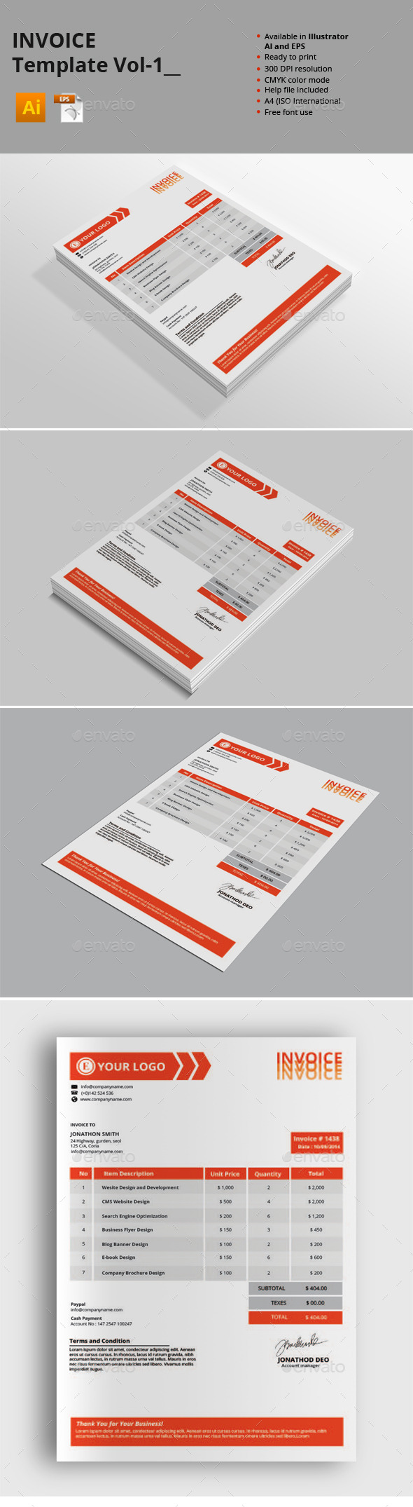 GraphicRiver Invoice Templates Vol-1 9001852