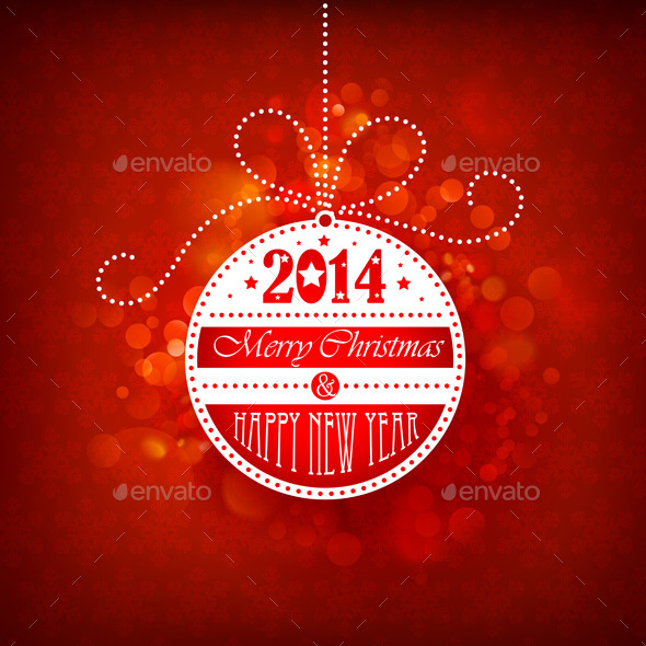 GraphicRiver Christmas Ball on Red Background 9001934