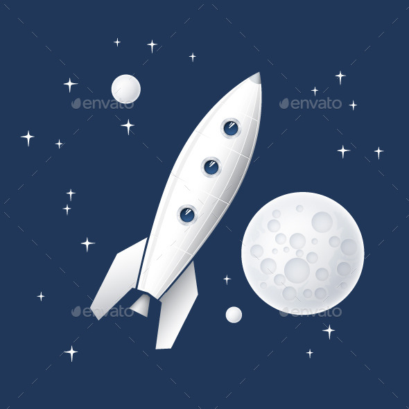 GraphicRiver Space Rocket Flying in Space Vector Illustration 9001978