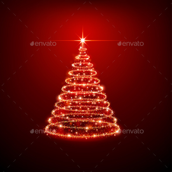 GraphicRiver Christmas Tree on Red Background 9002358