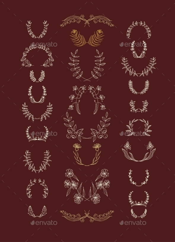 GraphicRiver Set of Symmetrical Floral Graphic Design Elements 9002421