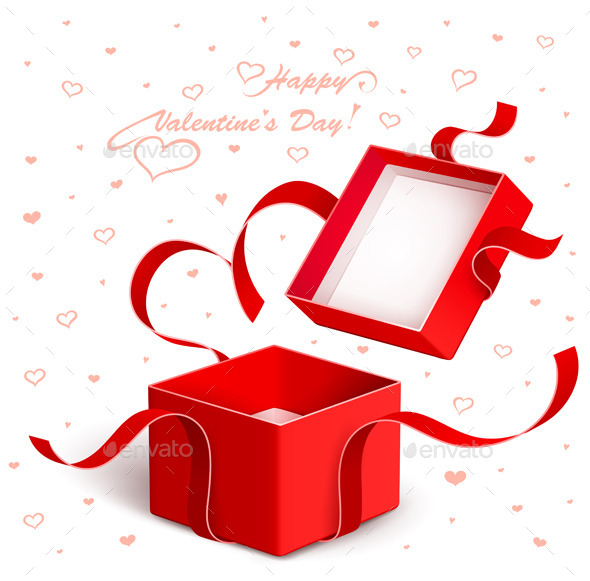 GraphicRiver Open Gift Box with Red Ribbon Torn 9002484