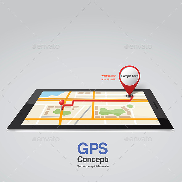 GraphicRiver Mobile Phone with Pointer on Screen GPS Concept 9002639