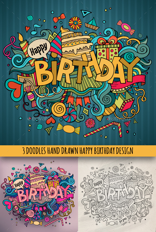 GraphicRiver 3 Birthday Doodles Designs 9002763
