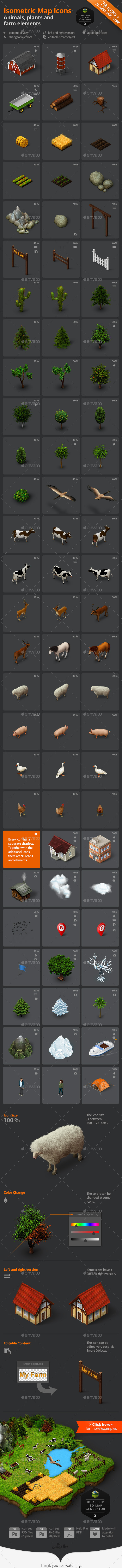 GraphicRiver Isometric Map Icons Animals Plants and Farm 9003270