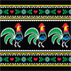 Polish Folk Art Pattern with Roosters on Black