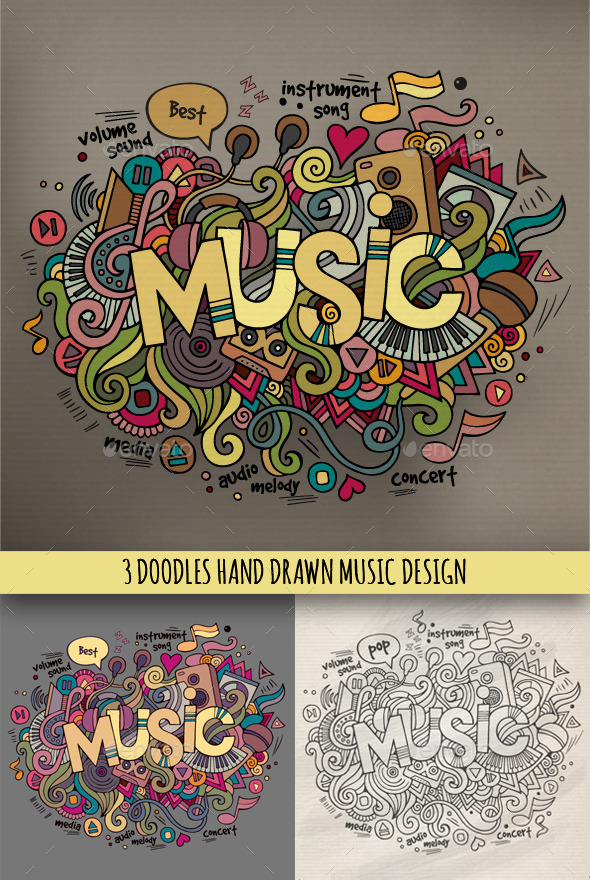 GraphicRiver 3 Music Doodles Designs 9003608