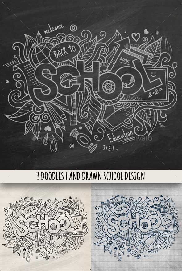 GraphicRiver 3 School Doodles Designs 9003138