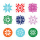 Colorful Pixelated Snowflakes, Christmas Icons - GraphicRiver Item for Sale