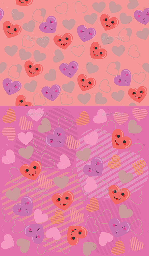 GraphicRiver Cute Hearts Pink Pattern 9005567