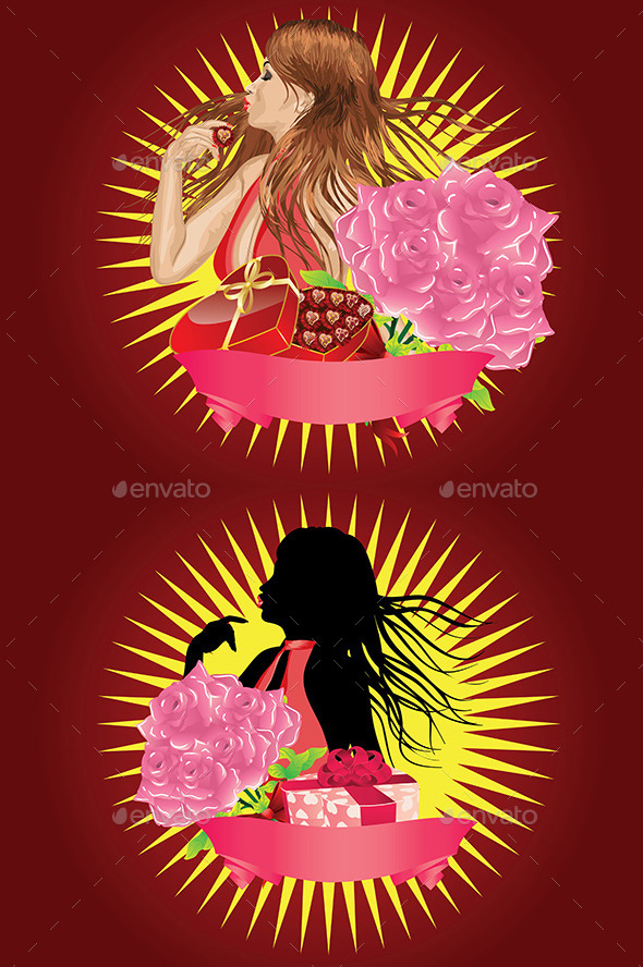 GraphicRiver Girl with Gift Box and Ribbon 9005569