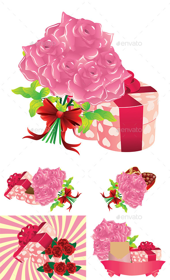 GraphicRiver Roses and Gift Box 9005581