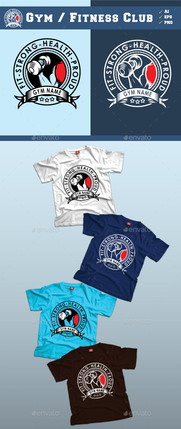 GraphicRiver Gym Fitness Club Tshirt Design 8998777