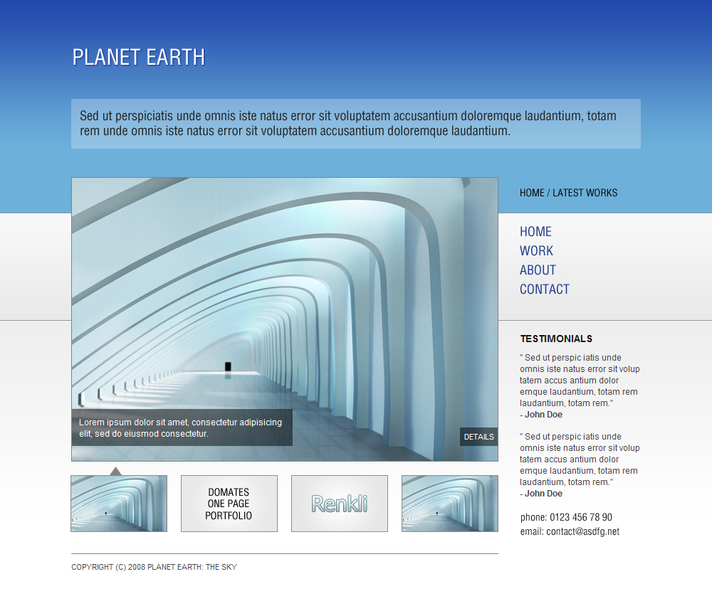 Planet Earth The Sky Html Portfolio Template By Peex