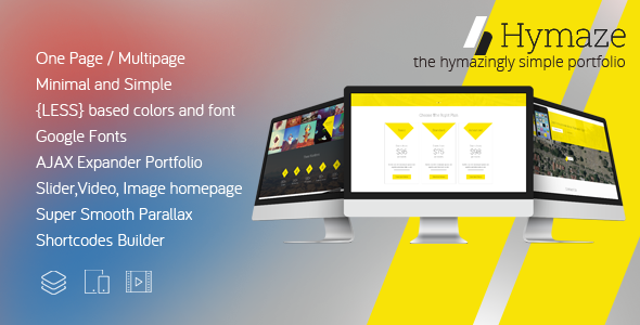 ThemeForest HYMAZE Simple One Page Parallax Portfolio 9006789