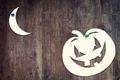 Halloween symbol pumpkin over wooden background - PhotoDune Item for Sale