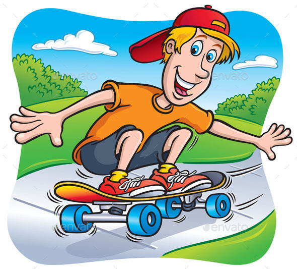 GraphicRiver Skateboarding Teen Riding on the Sidewalk 9006833
