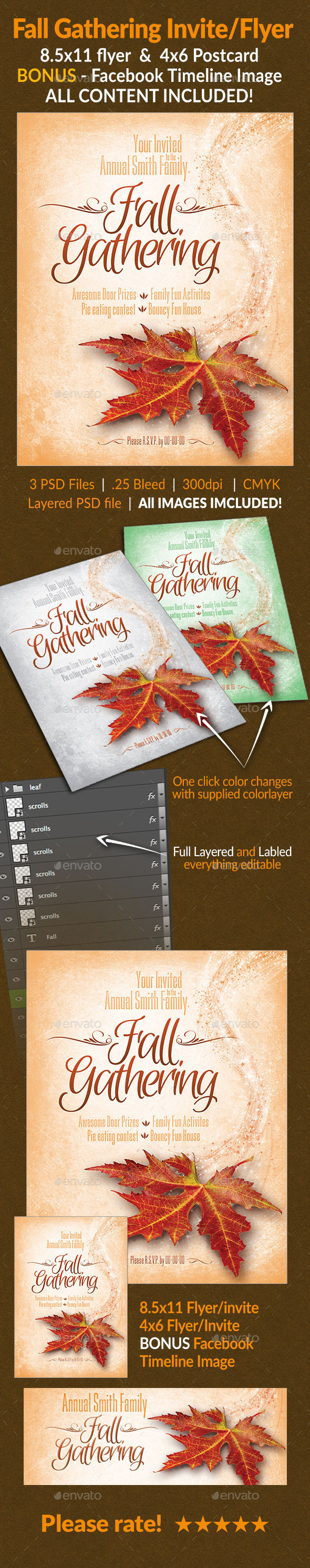 GraphicRiver Fall Gathering Invite Flyer Set 9006843