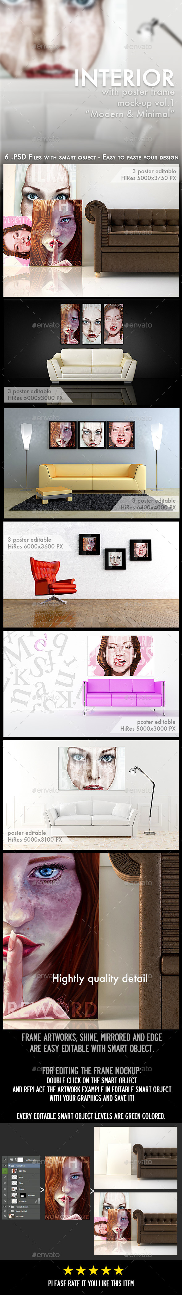 GraphicRiver Interior with Poster and Frame Mock-Ups 8997633
