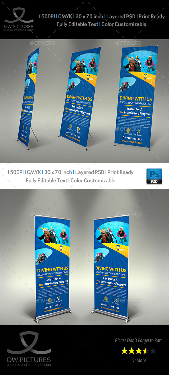GraphicRiver Diving Signage Roll-Up Banner Template Vol.2 8989565