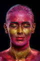 Glitter makeup on a beautiful woman face on a black background - PhotoDune Item for Sale