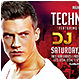 Horizontal Techno DJ Promotion Flyer - GraphicRiver Item for Sale