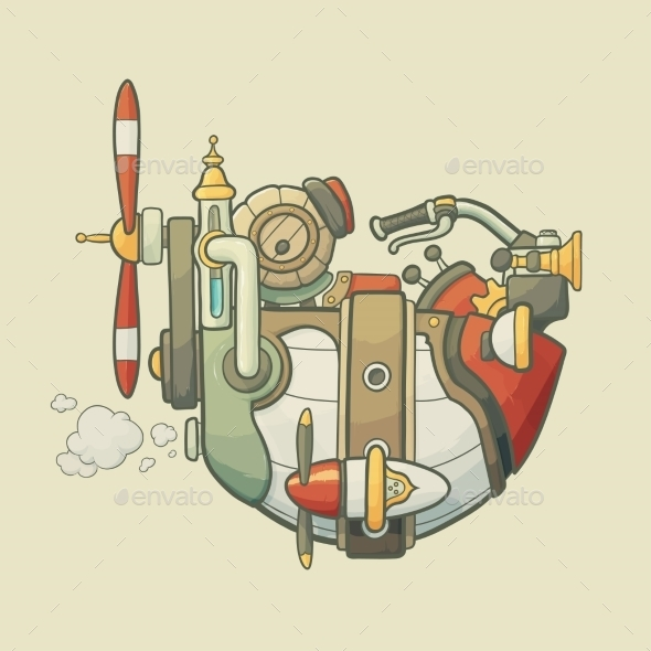 GraphicRiver Cartoon Steampunk Styled Flying Airship 9007592
