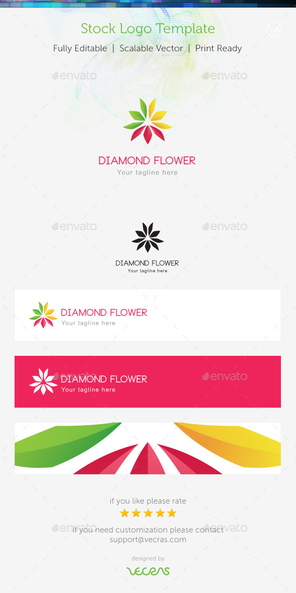 GraphicRiver Diamond Flower Stock Logo Template 9007595