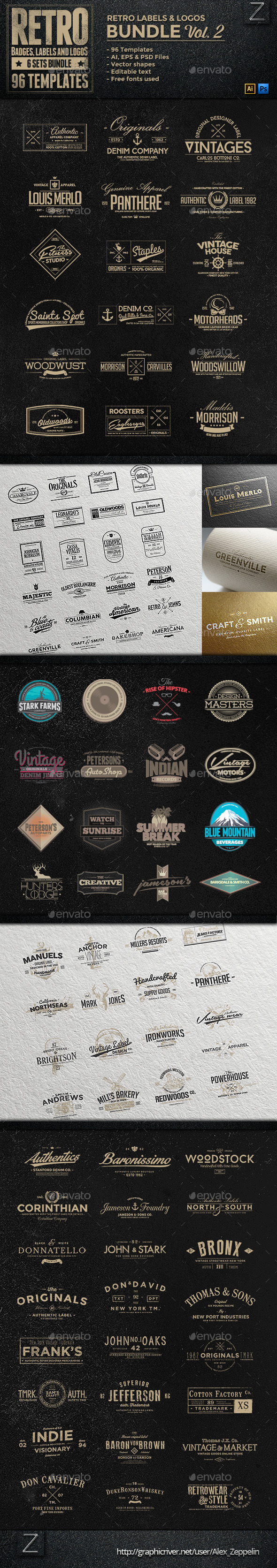 GraphicRiver 96 Retro Vintage Badges & Labels Bundle Vol.2 9007614
