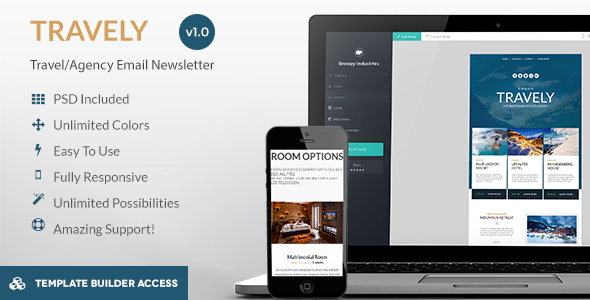 ThemeForest Travely Tourism Email & Template Builder Access 8995456