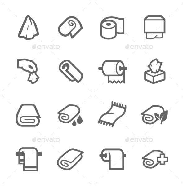 GraphicRiver Towels and Napkins Icons 9008647