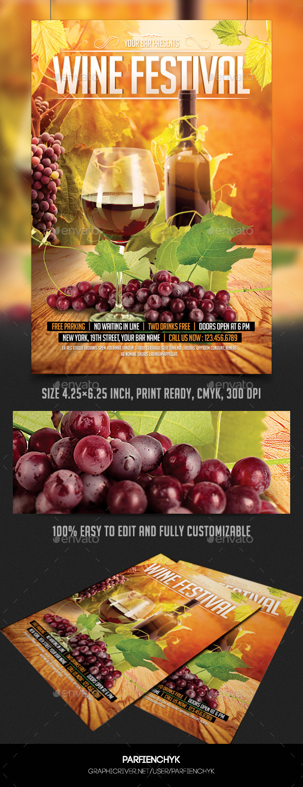GraphicRiver Wine Festival Flyer Template 9008649