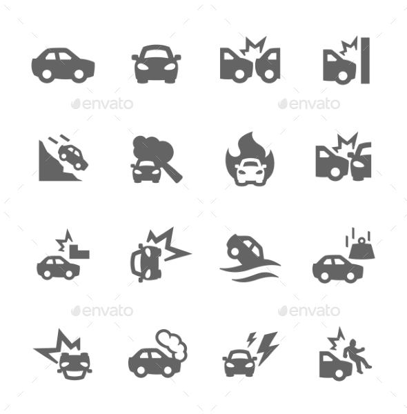 GraphicRiver Car Crashes Icons 9008661