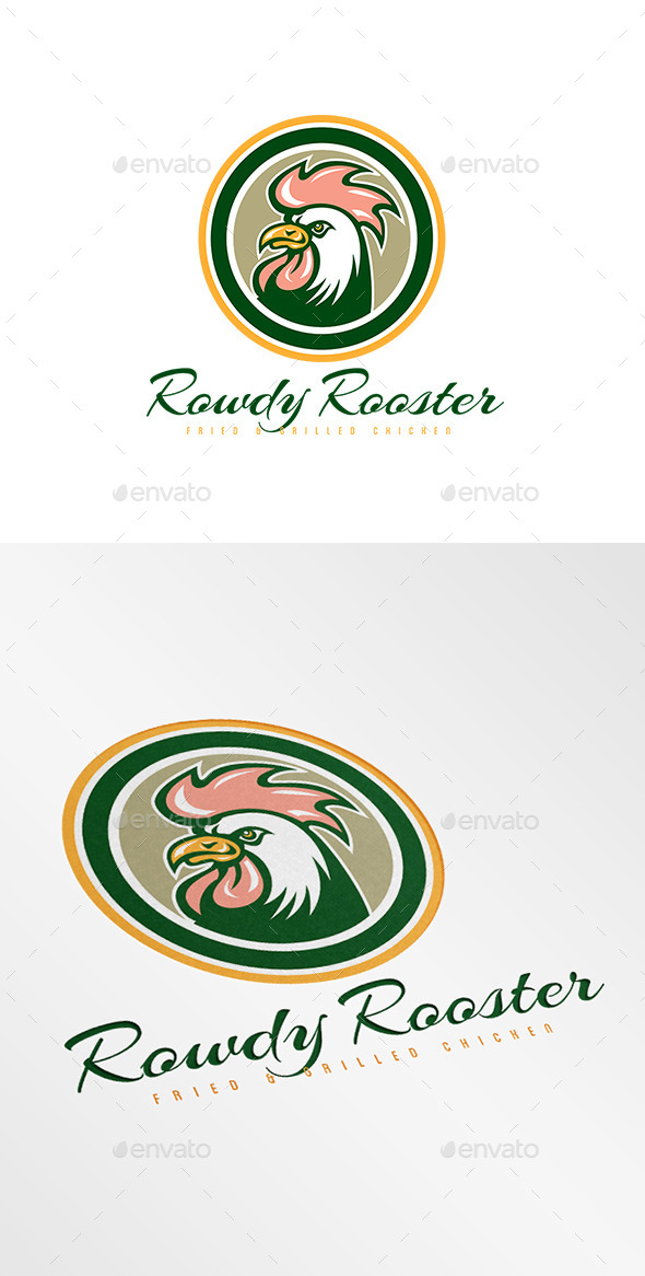 GraphicRiver Rowdy Rooster Fried Chicken Logo 9009150