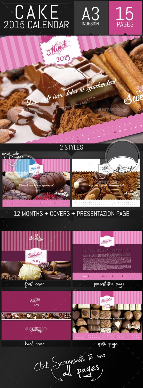 GraphicRiver Vintage Cake 2015 Horizontal Calendar Template 9009276