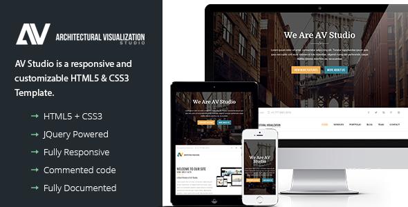 ThemeForest AV Studio Responsive One Page HTML5 & CSS3 8995458