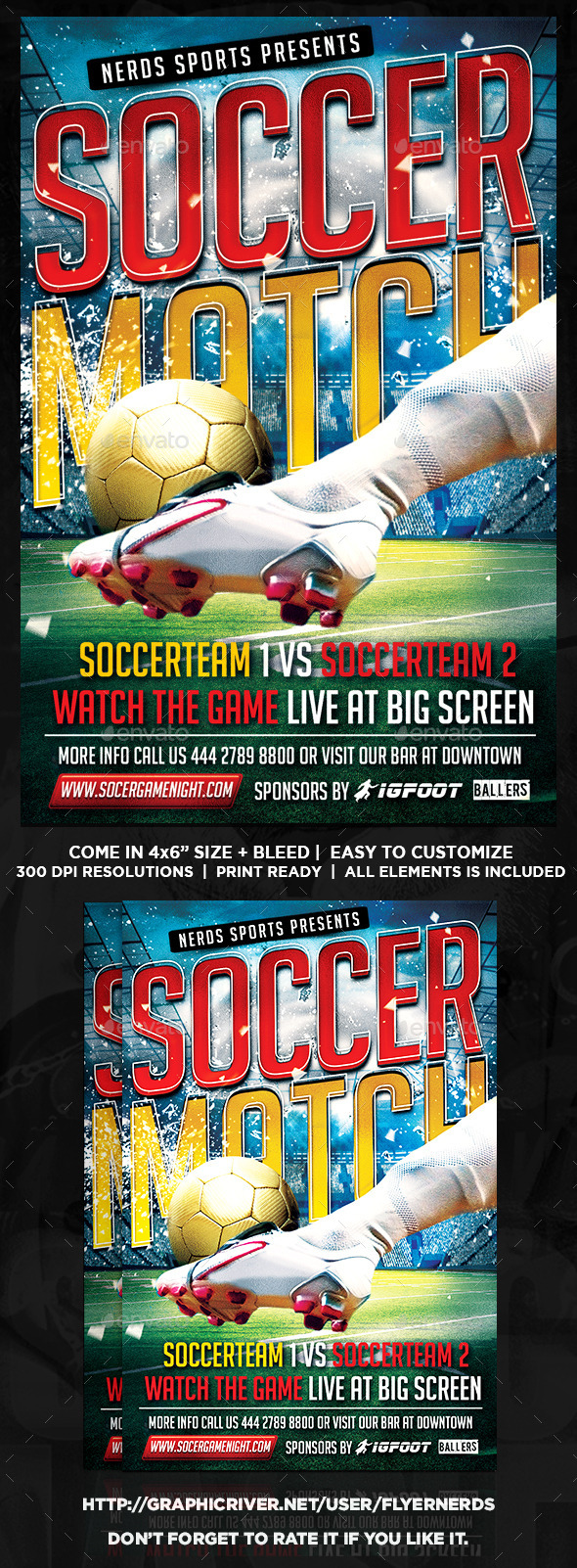 GraphicRiver Soccer Match Flyer 9009958