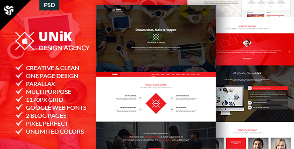 ThemeForest UNiK One Page Multi-Purpose Parallax 8979635