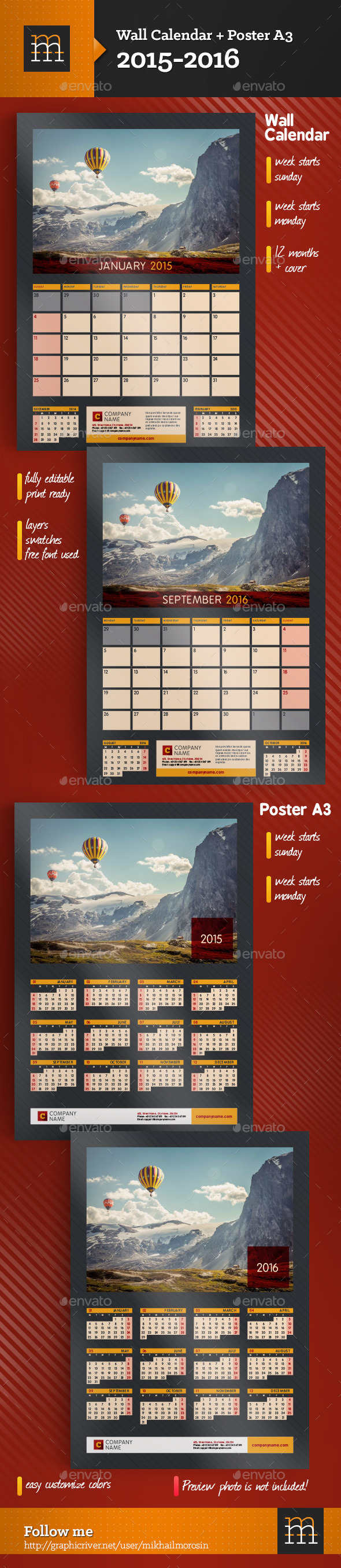 GraphicRiver 2015-2016 Wall Calendar & Poster A3 9010842