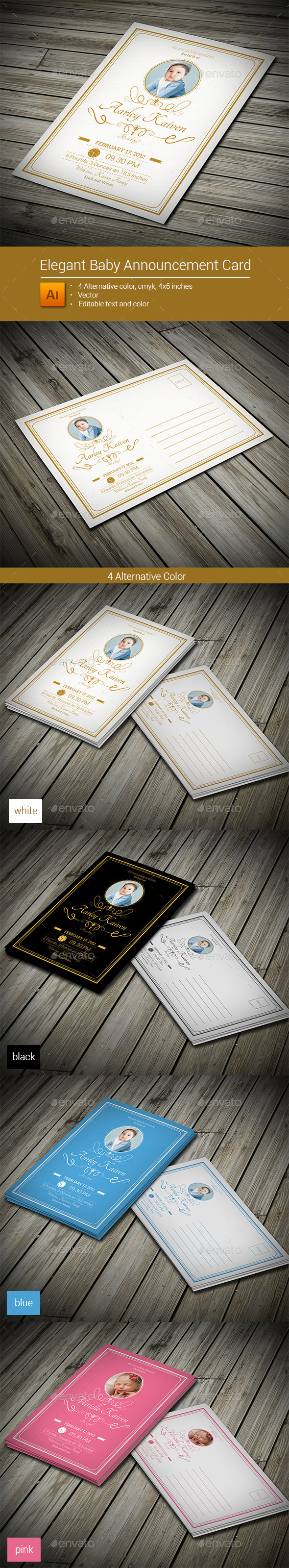 GraphicRiver Elegant Baby Announcement Card 9011252