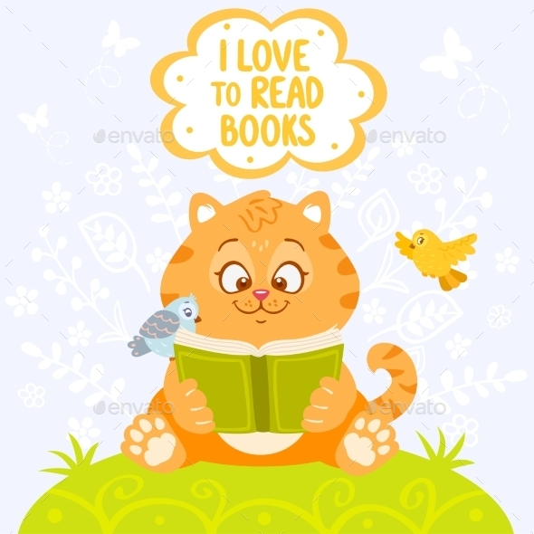 GraphicRiver Cat with Book 9012149