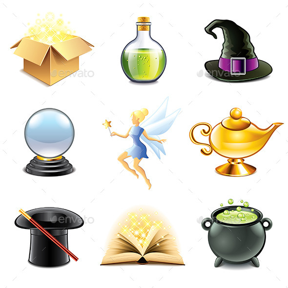 GraphicRiver Magic and Sorcery Icons Vector Set 9012154