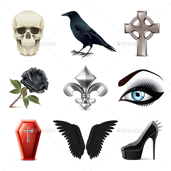 GraphicRiver Gothic Attributes Icons 9012164