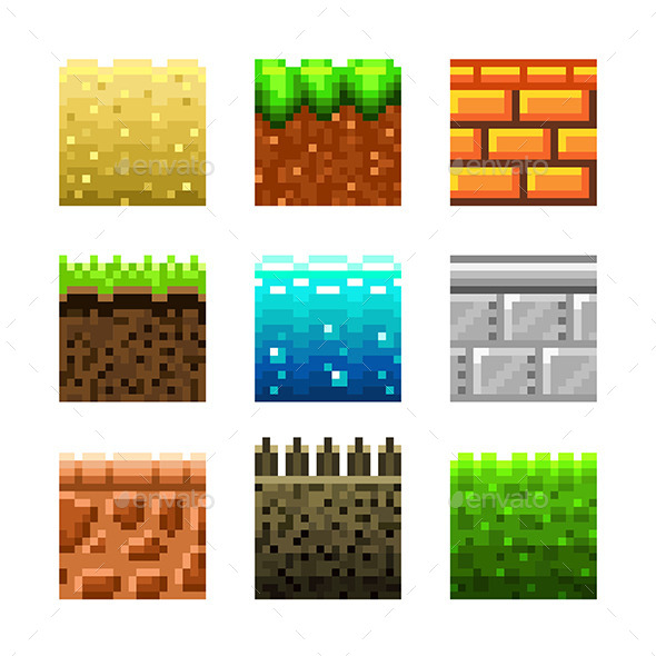 GraphicRiver Textures for Platformers Pixel Art Icons 9012165