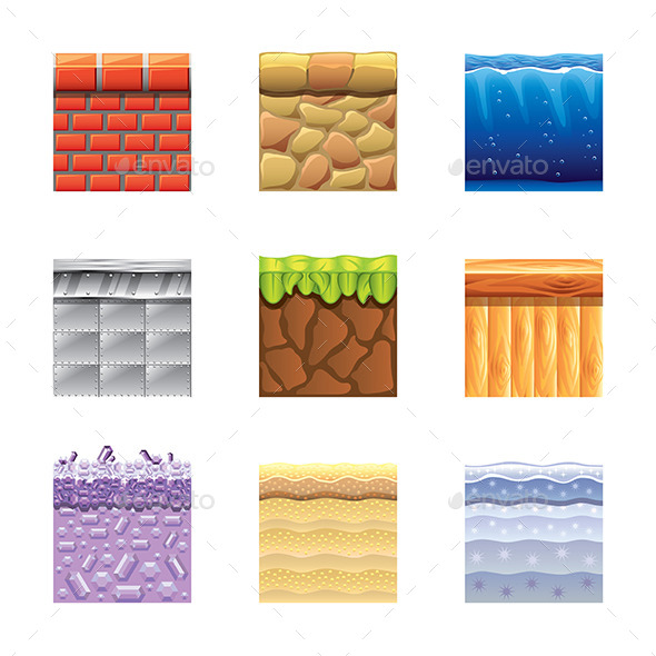 GraphicRiver Textures for Platformers Icons Vector Set 9012167