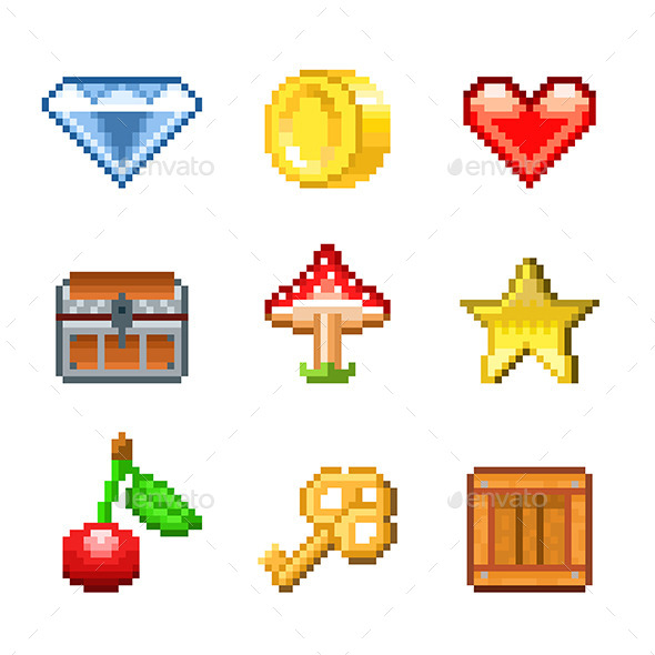 GraphicRiver Pixel Objects for Games Icons 9012170